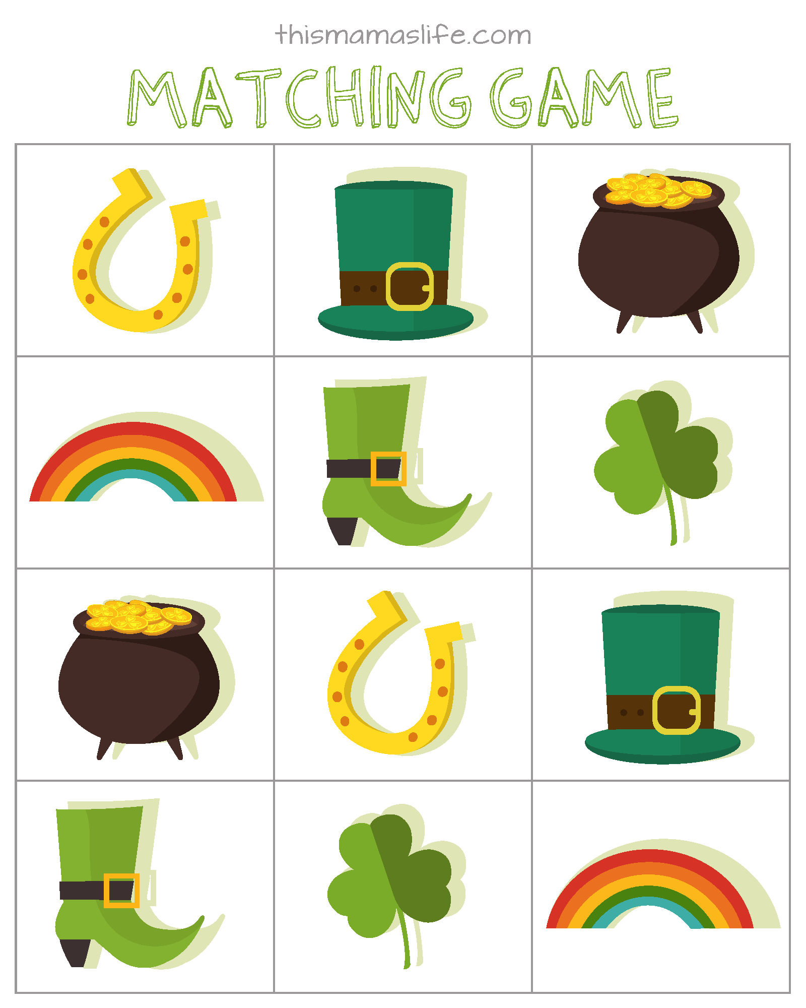 Free Printables St Patrick S Day Counting Match Up