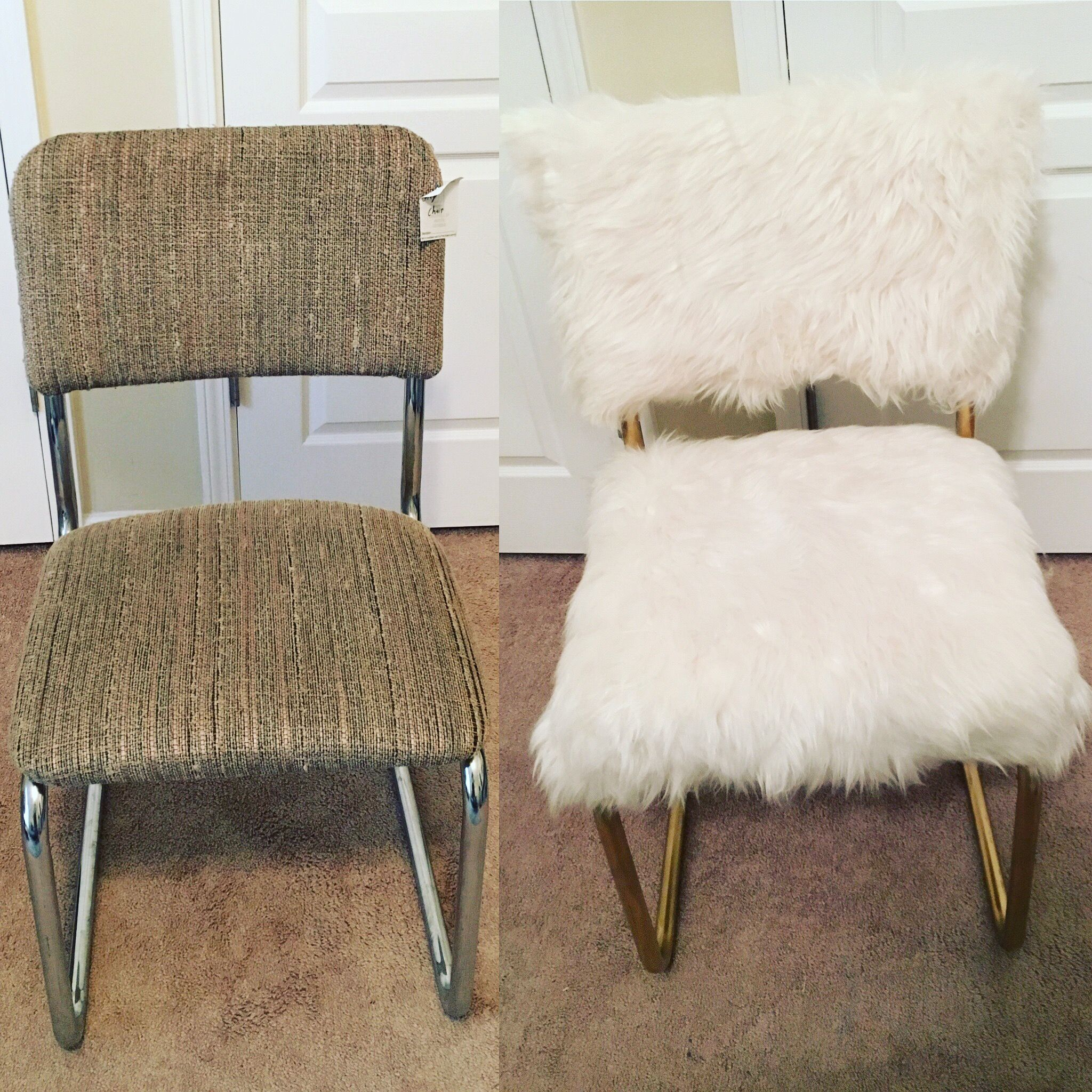Shabby 4 Goodwill Chair Transformed Into A Chic White And Gold Faux Fur Chair Easy And Affo Diy Furniture Chair Bedroom Furniture Makeover Furniture Makeover
