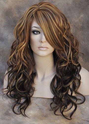 Heat Safe Wavy Long Skin Top Chestnut Brown Blonde Mix Wig