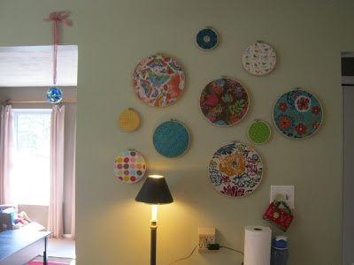 Happy hoop art by Happy Mama. Happy fabric hoop art