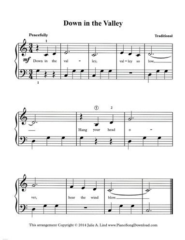 Down In The Valley Piano Sheet Music For Level 2 Piano Players