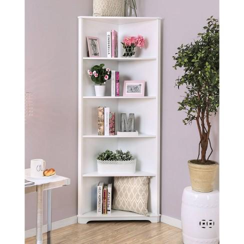 78 Mcafee Contemporary 5 Tier Corner Bookshelf White Iohomes