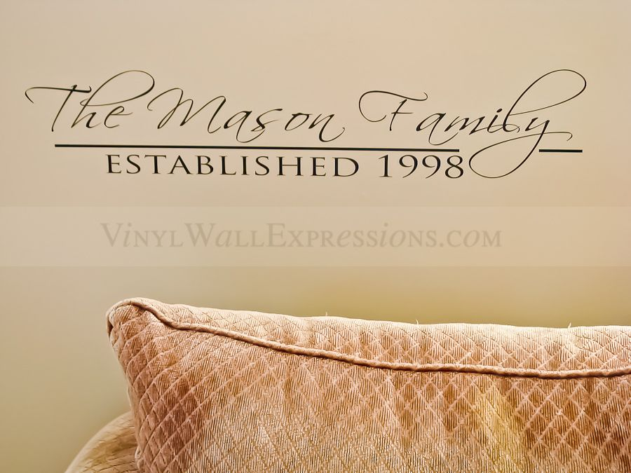 Custom Family Wall Art With Established Date The Mason Family - Custom vinyl wall decals family quotes
