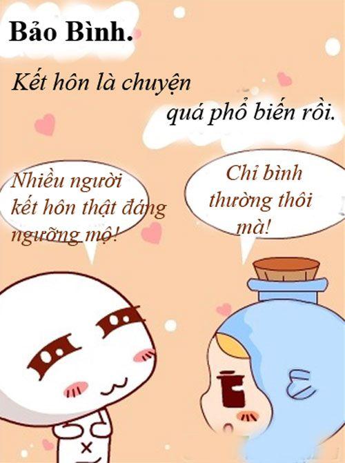 bảo bình lại rất vô tư, kết hôn là chuyện quá phổ biến rồi  12 cung hoang dao: http://boi.vn/12-cung-hoang-dao/ xem tuoi vo chong: http://boi.vn/xem-tuoi-vo-chong tu vi hang ngay: http://boi.vn/tu-vi-hang-ngay/ xem boi ngay sinh: http://boi.vn/xem-boi-ngay-sinh/