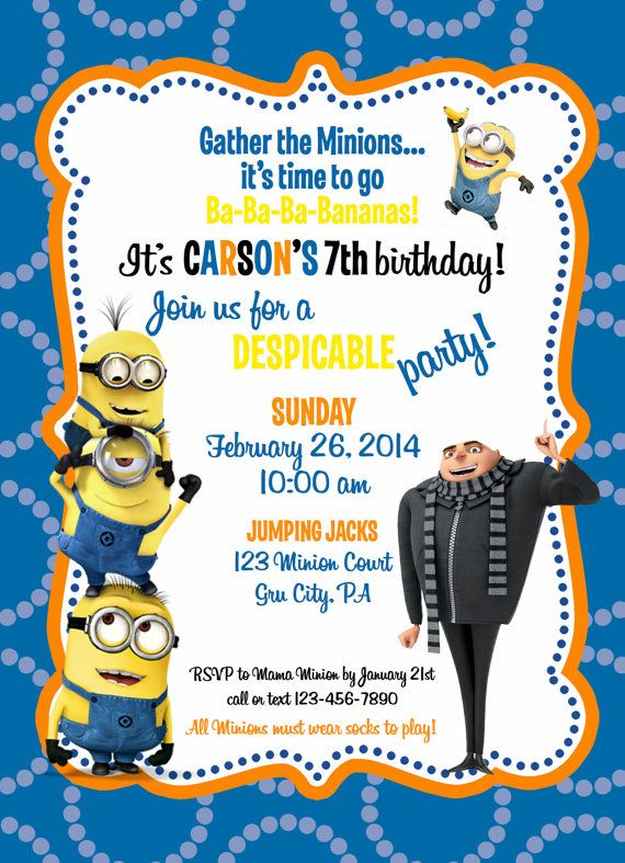 Despicable Me Minion Birthday Invitation by ckfireboots on Etsy - best of invitation card party wording