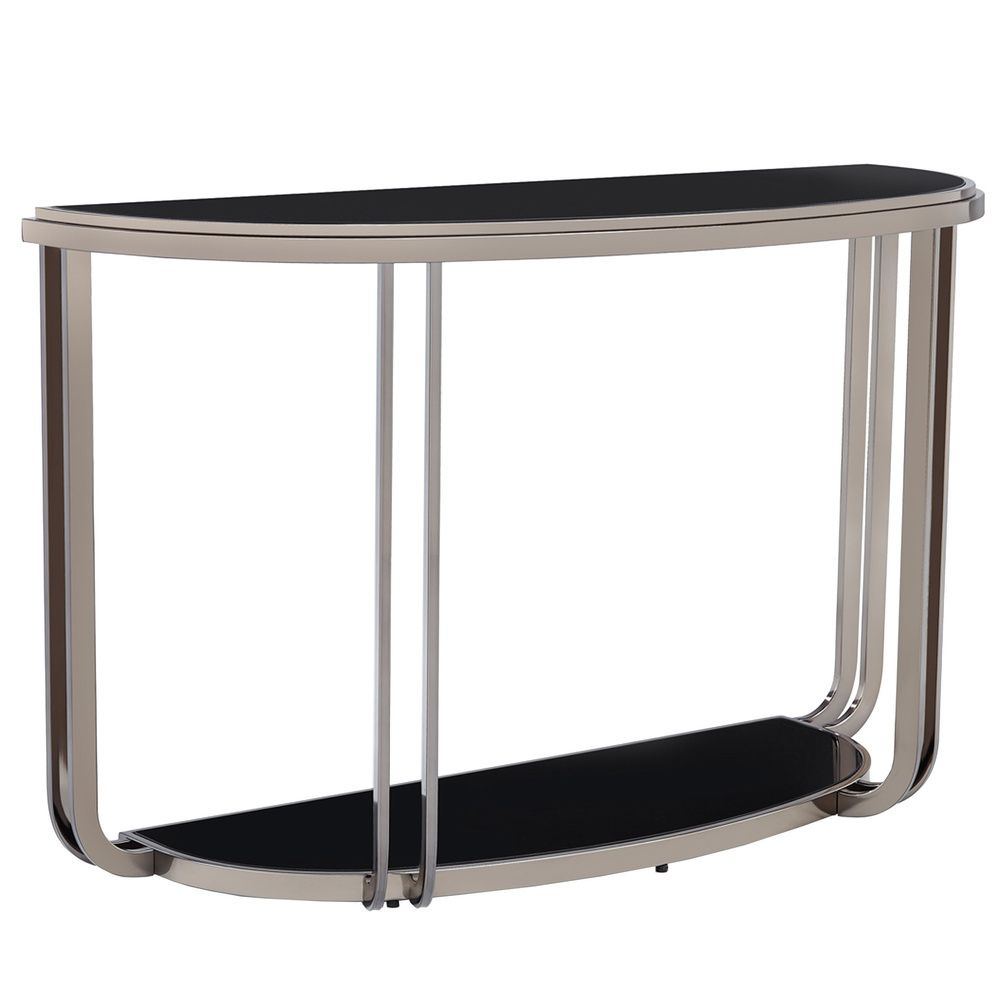 Tribecca home edison black nickel plated modern sofa table tribecca home edison black nickel plated modern sofa table overstock shopping great geotapseo Images