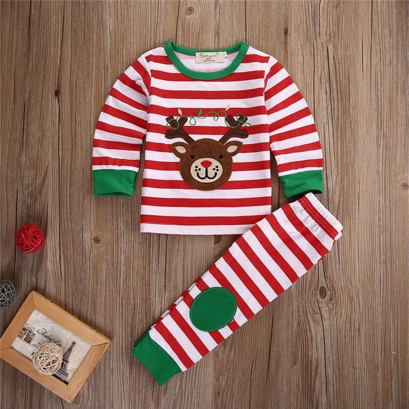 Toddler Kids Baby Boy Girl Christmas Striped T shirt Tops+Pants Outfits Set
