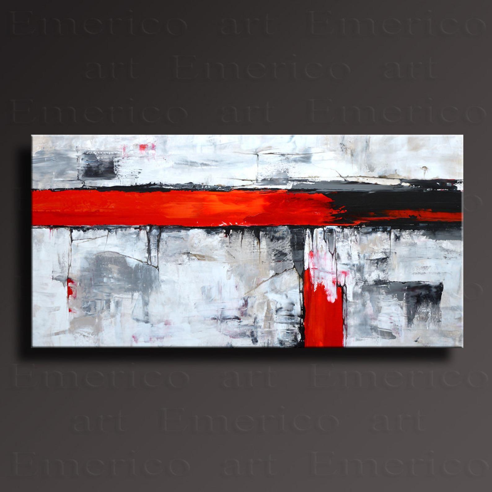 48 original abstract painting black white gray red on canvas contemporary modern art wall decor ab58i3f abstrakte malerei moderne kunst abstrakt bilder grau weiß schwarz