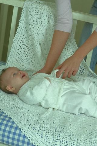 Baby resting on a knitted lace blanket | knitting | Pinterest