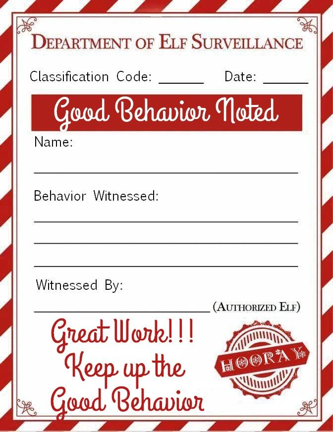 Elf On A Shelf Good Behavior Note Printable Free Personalized Template Nice Note Christmas Printable Elf Letters Elf On Shelf Notes Elf Notes