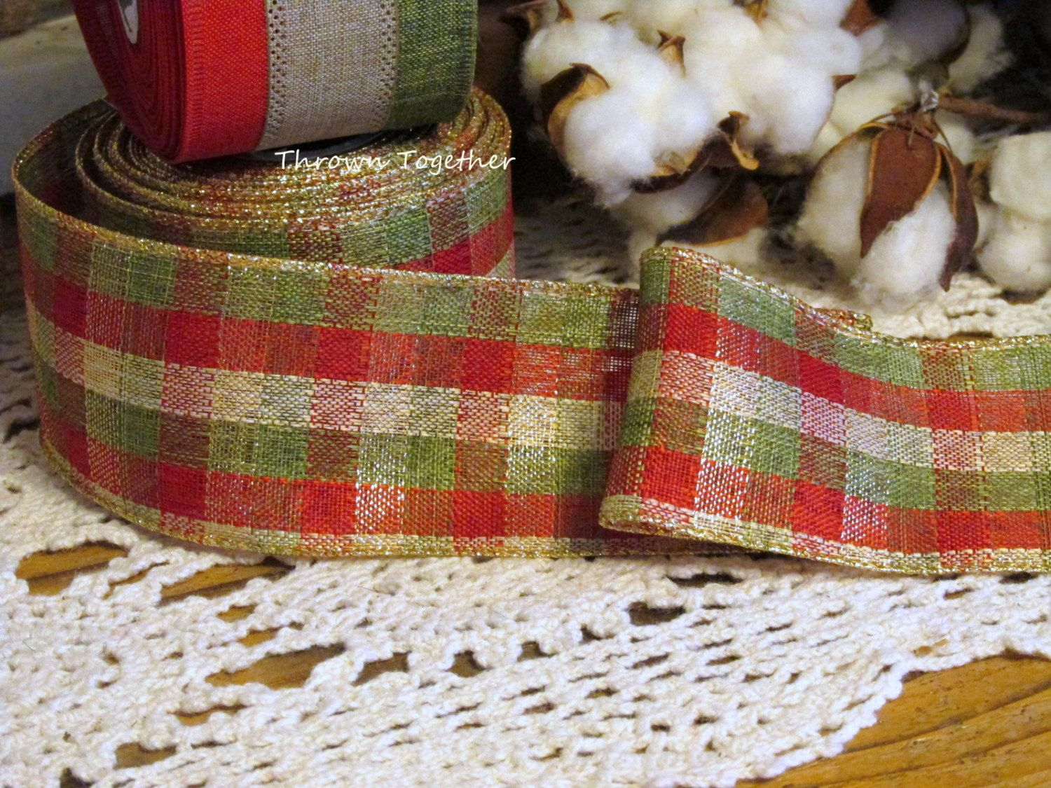 plaid christmas ribbon gift wrap ribbon metallic check plaid ribbon 5yds wired ribbon