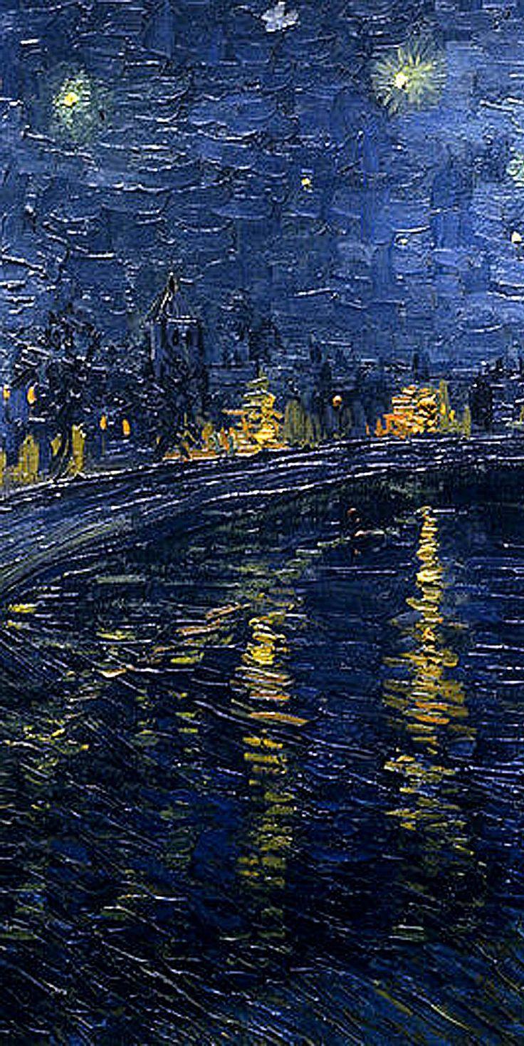 Vincent Van Gogh 'Starry Night over the Rhone' detail left ...