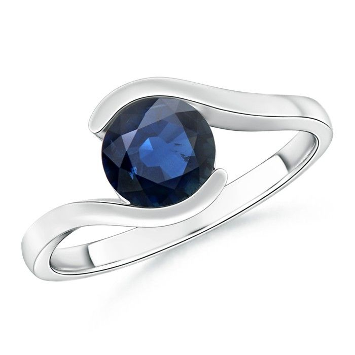 Angara Solitaire Sapphire Twisted Shank Ring with Diamond in 14k White Gold LNGTgM3OzK