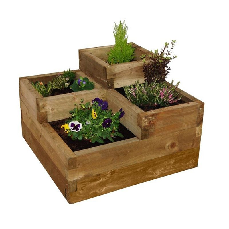 Forest Caledonian Tiered Wooden Raised Bed Puutarha Piha