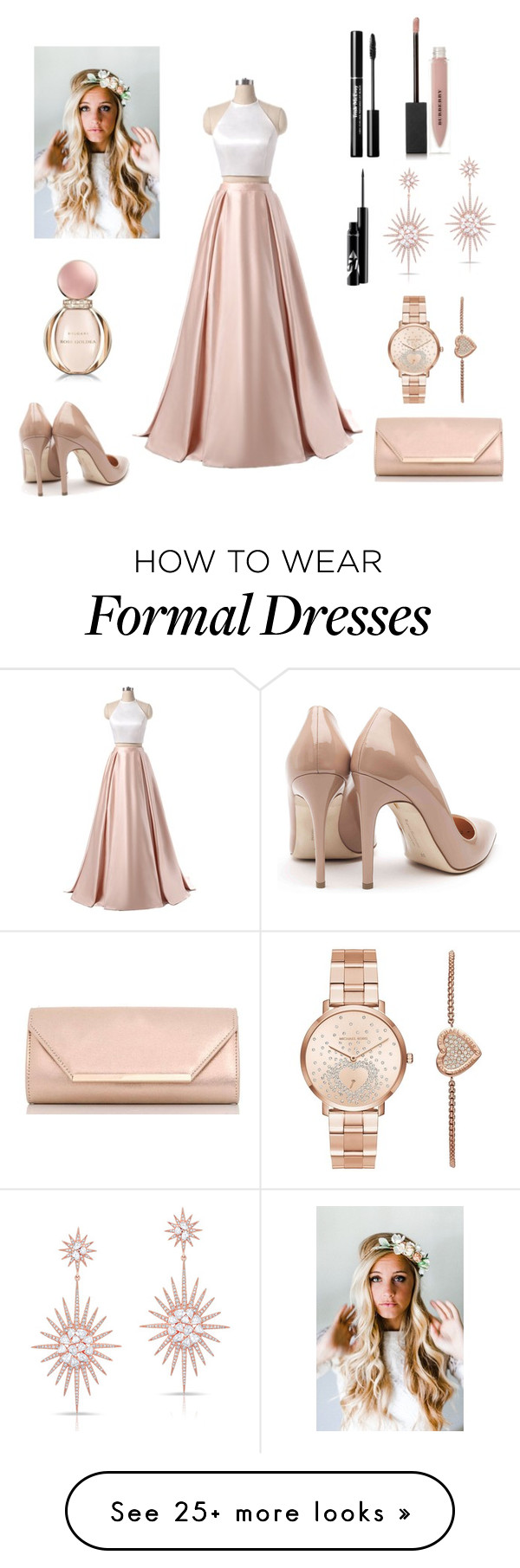 """""""Untitled #35"""" by biancagrigoremihaela on Polyvore featuring Rupert Sanderson, Dorothy Perkins, Emily Rose Flower Crowns, Michael Kors, Anne Sisteron, Burberry and Bulgari"""