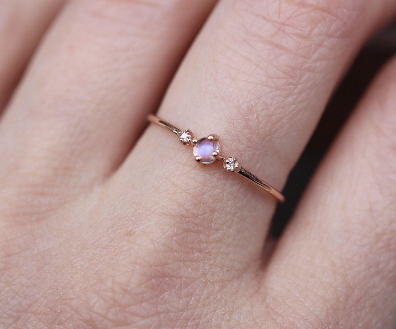 14k Moonstone Ring Diamond Moonstone Ring Diamond Ring | Finer ...