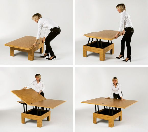 Basic Table Is A Cool Design For Small Space The Basic Table Transforms From An Attractive Cof Table Basse Convertible Construire Une Table Basse Table Basse