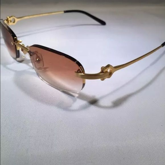 16c7529fac8 Cartier sunglasses gold Cartier sunglasses gold rimless frames with brown  gradient lenses Accessories Glasses