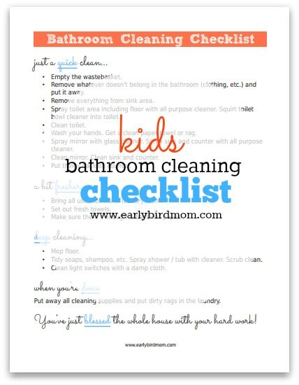 Free Kidu0027s Bathroom Cleaning Checklist Printable
