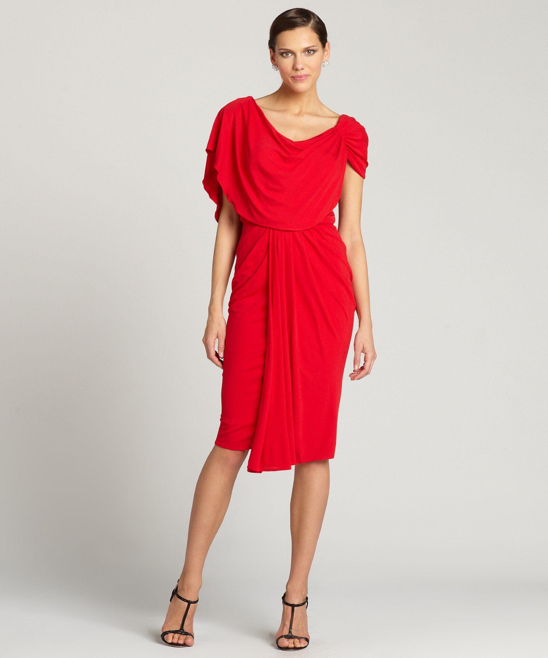 Badgley Mischka black drape stretch jersey short-sleeved dress   BLUEFLY up to 70% off designer brands