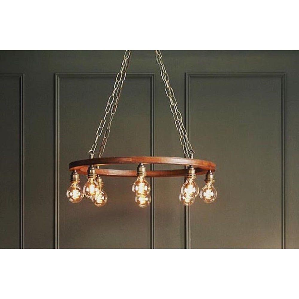 Saddler rustic 8 light cartwheel pendant chandelier with leather saddler rustic 8 light cartwheel pendant chandelier with leather effect finish arubaitofo Images