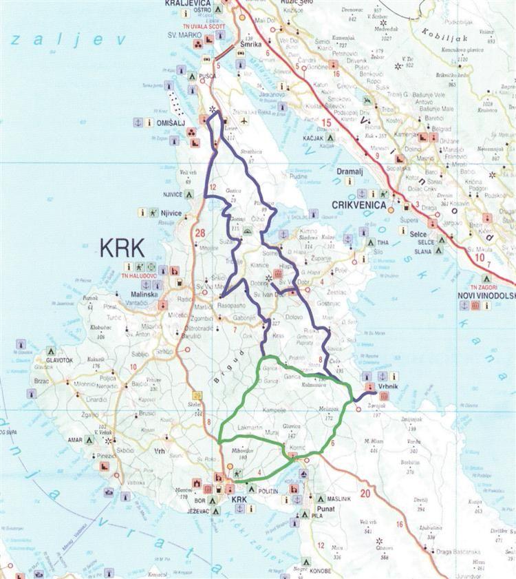 Karte Der Radroute Zentral Krk Kroatie