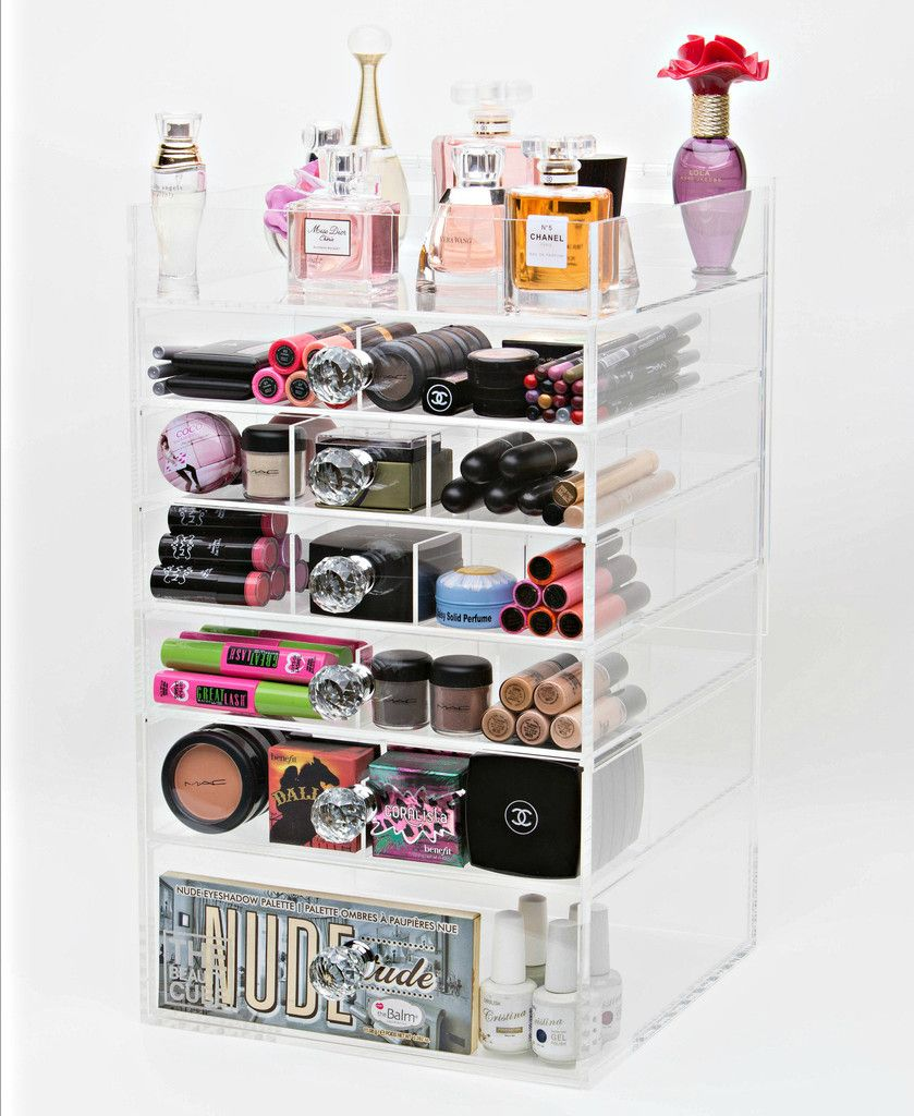 Acrylic CosmeticMakeup Organizer Tier Tall With Crystal Knob - Cosmetic makeup organizer wood countertop organizer by lessandmore