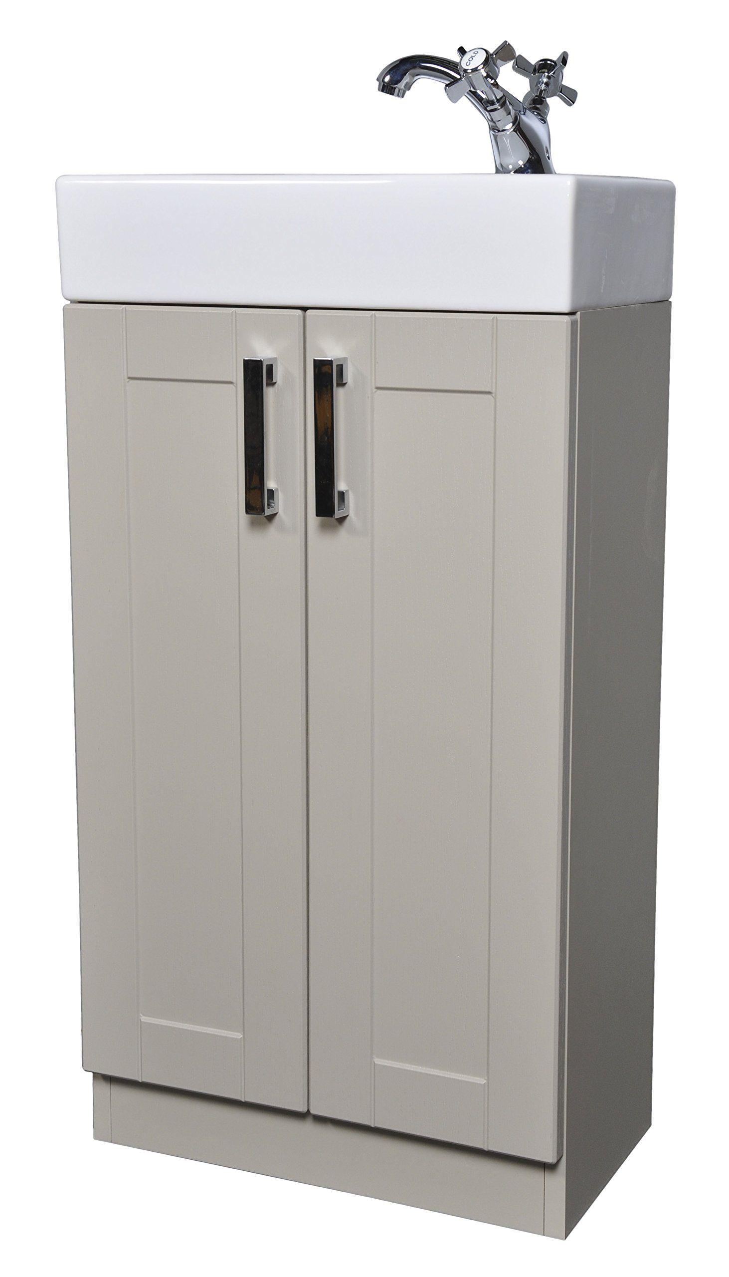grey green shaker 450mm cloakroom bathroom vanity unit. Black Bedroom Furniture Sets. Home Design Ideas