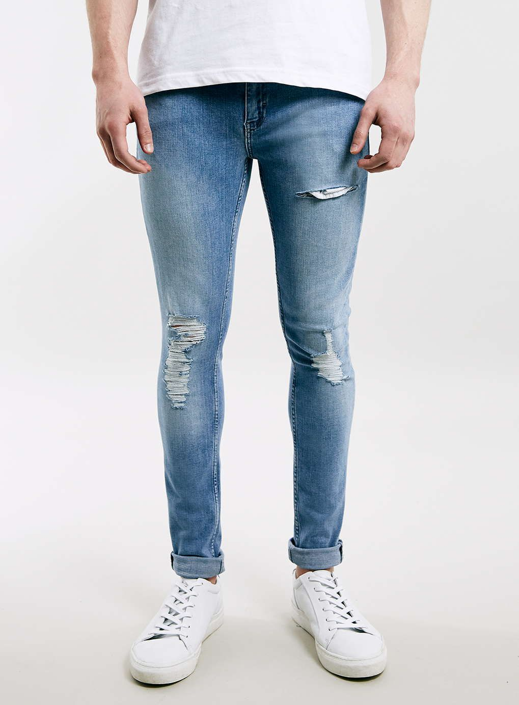 Bleach Wash Ripped Spray On Skinny Jeans