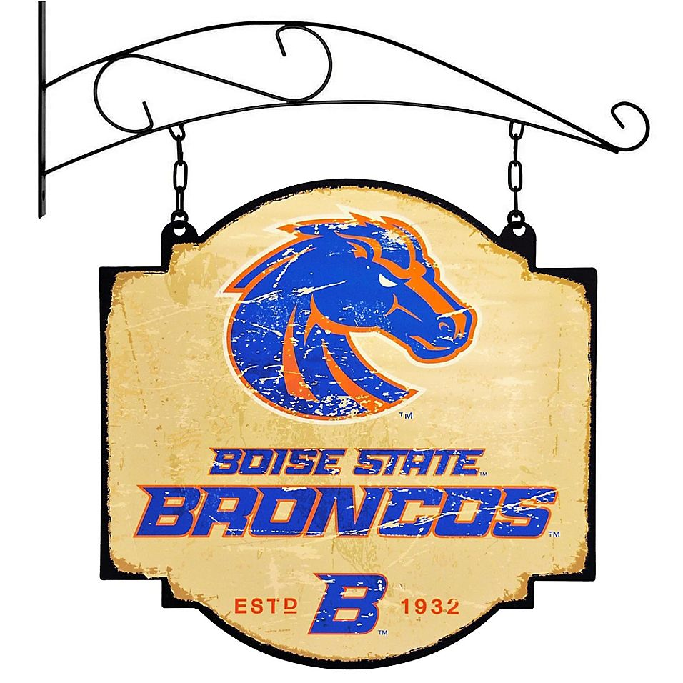 Boise State University Vintage Inspired Metal Pub Sign In Cream