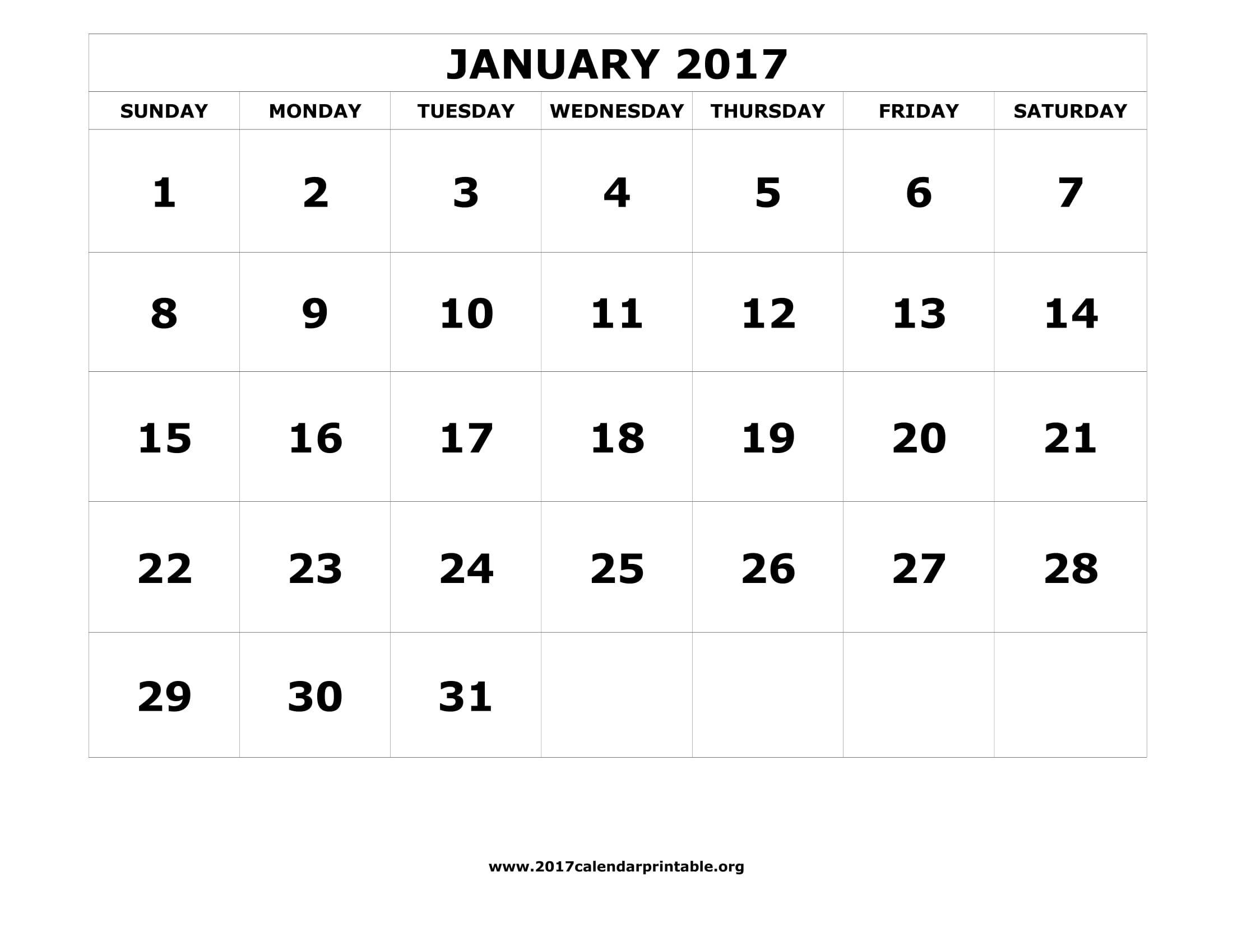 January Calendar Printables 2017 Printable Calendar Calendar 2017