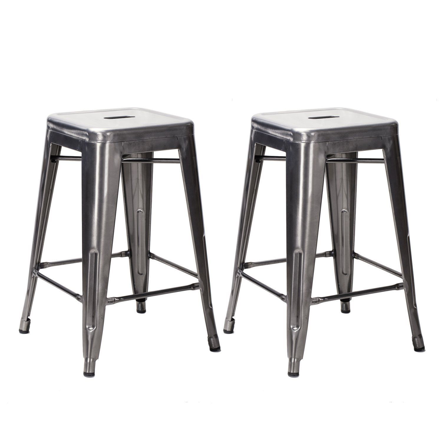 24-inch Gunmetal / Silver Glossy Metal Tolix-style Chair Counter Stool (Set of 2)