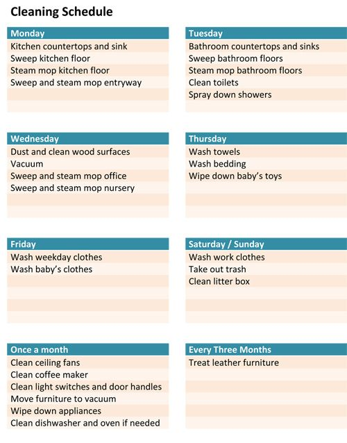 Freebie Download \u2013 A cleaning schedule template to organize your