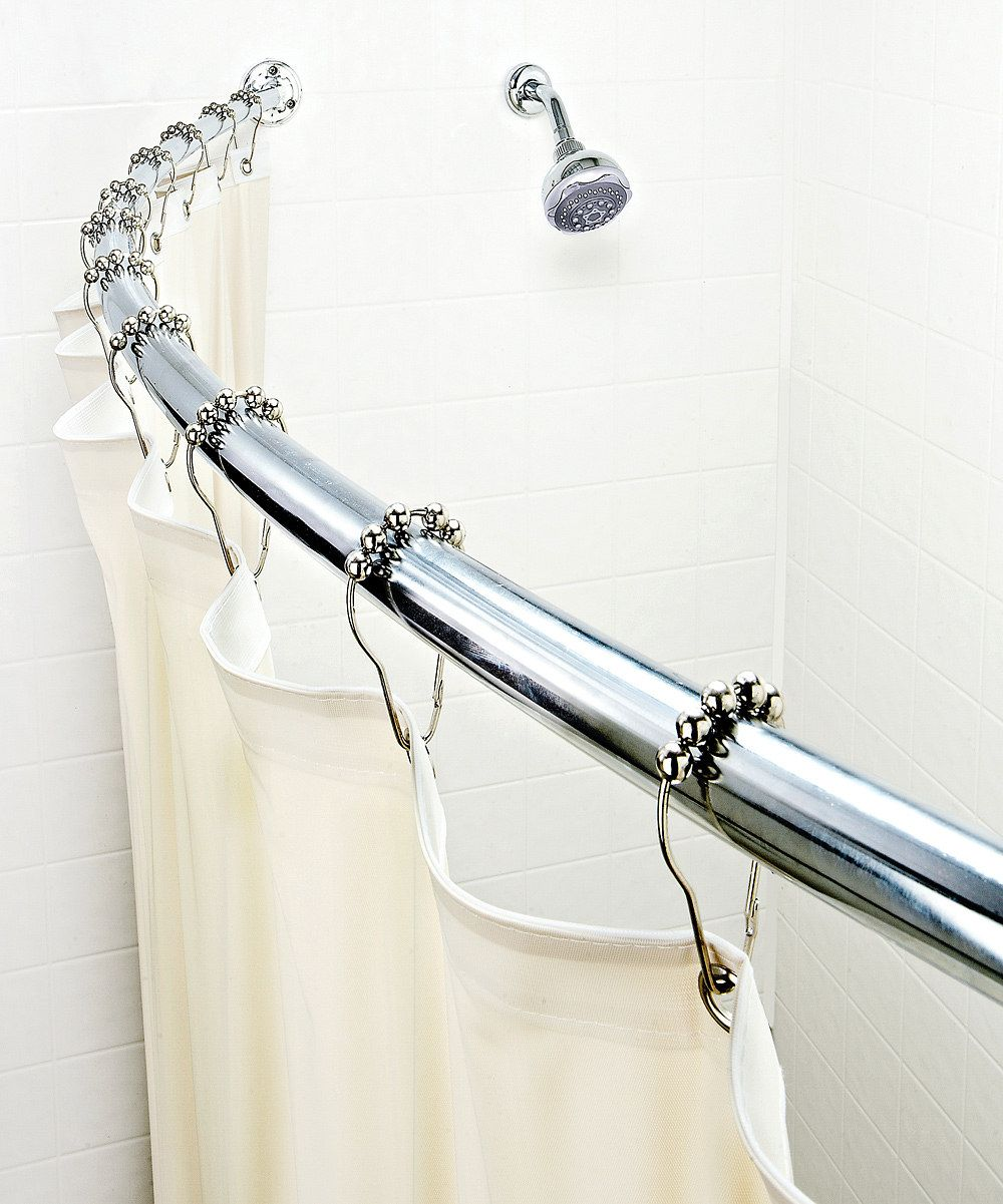 Chrome Curved Shower Rod Creates The Illusion Of A Larger Shower