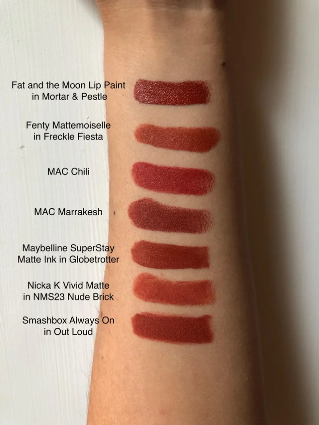 Swatches Of My Very Unnecessary Brick Red Lipstick Collection Olivemua Brick Red Lipstick Red Lipstick Swatches Maybelline Red Lipstick