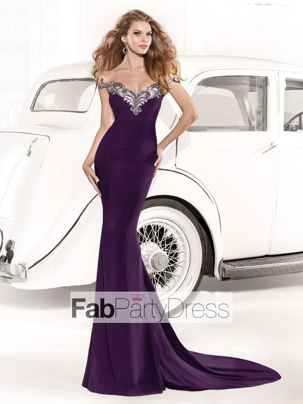 Trumpet / Mermaid Off-the-shoulder  Beading  Sleeveless Floor-length Elastic Woven Satin Prom Dresses / Evening Dresses