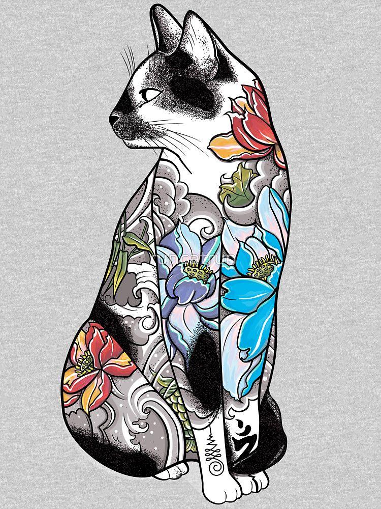 Cat In Lotus Tattoo Classic T Shirt By Runcatrun Tattoo Posters Japanese Tattoo Cat Tattoo Designs