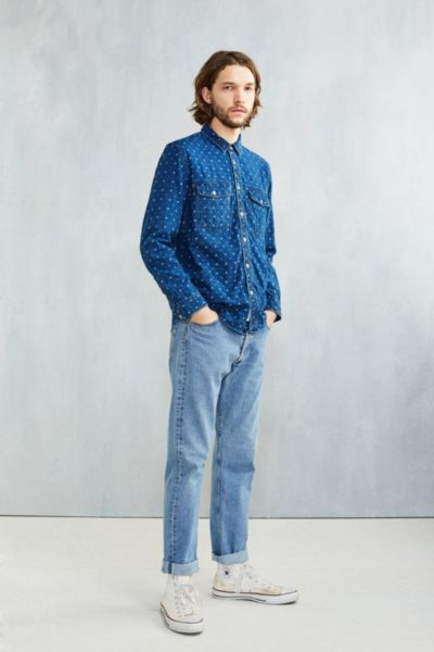 CPO Washed Indigo Dobby Button-Down Workshirt - Urban Outfitters