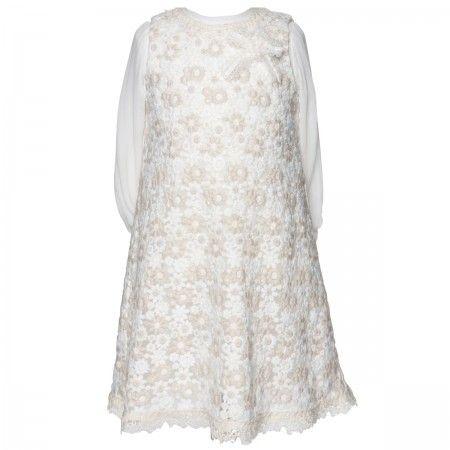 Antigone Cream Embroidered A-Line Girl's Party Dress
