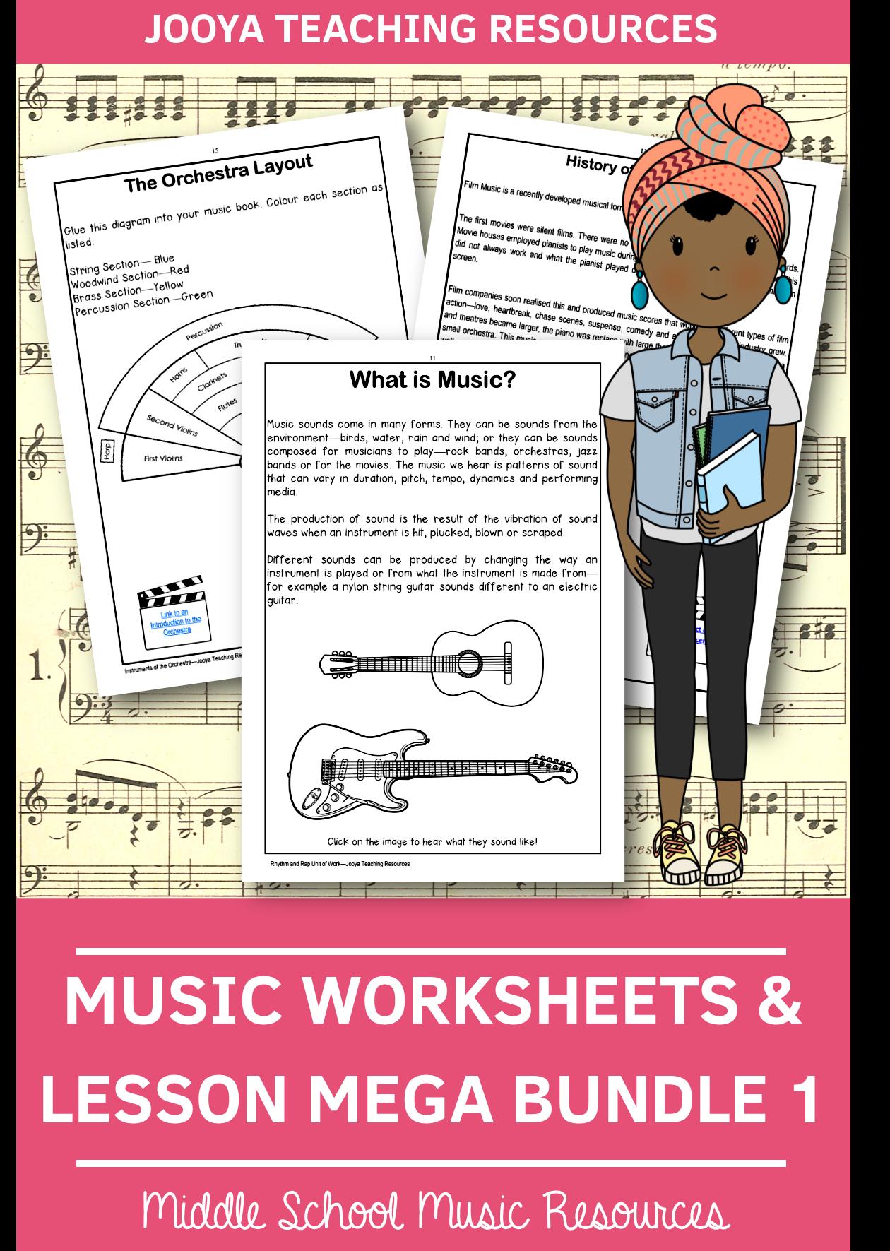 Music Worksheets Amp Lessons Mega Bundle 1