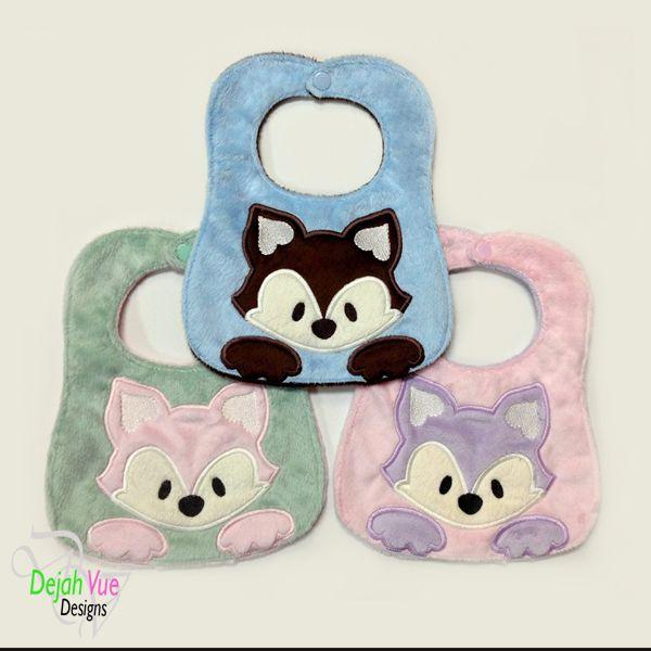 Peeking Fox Bib Ith Embroidery Design Bibs Baby Bibs