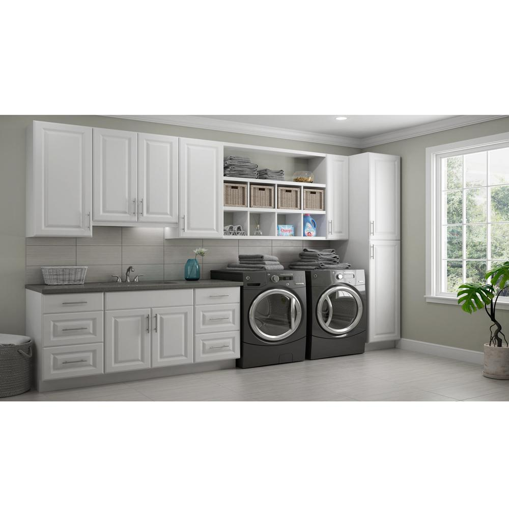 Hampton Bay 0 25 In X 30 In X 12 In Matching Wall Cabinet End Panel In Satin White Kasx1230 Sw The Home Depot In 2020 Laundry Room Layouts Laundry Room Storage Laundry Room Design