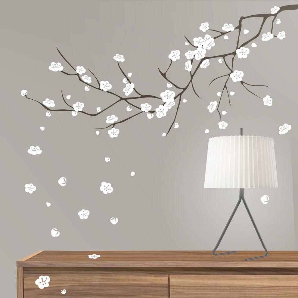 Vinilo decorativo floral de pared con dise o de almendro - Disenos de vinilos ...