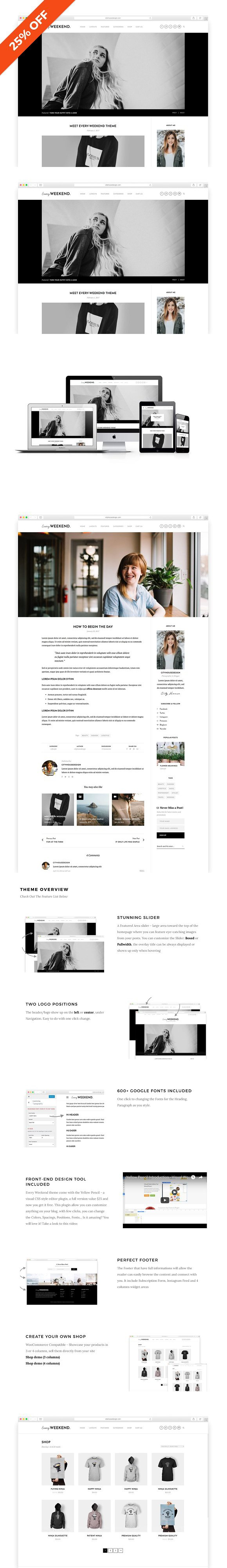 Every Weekend - A Blog & Shop Theme. WordPress Blog Themes