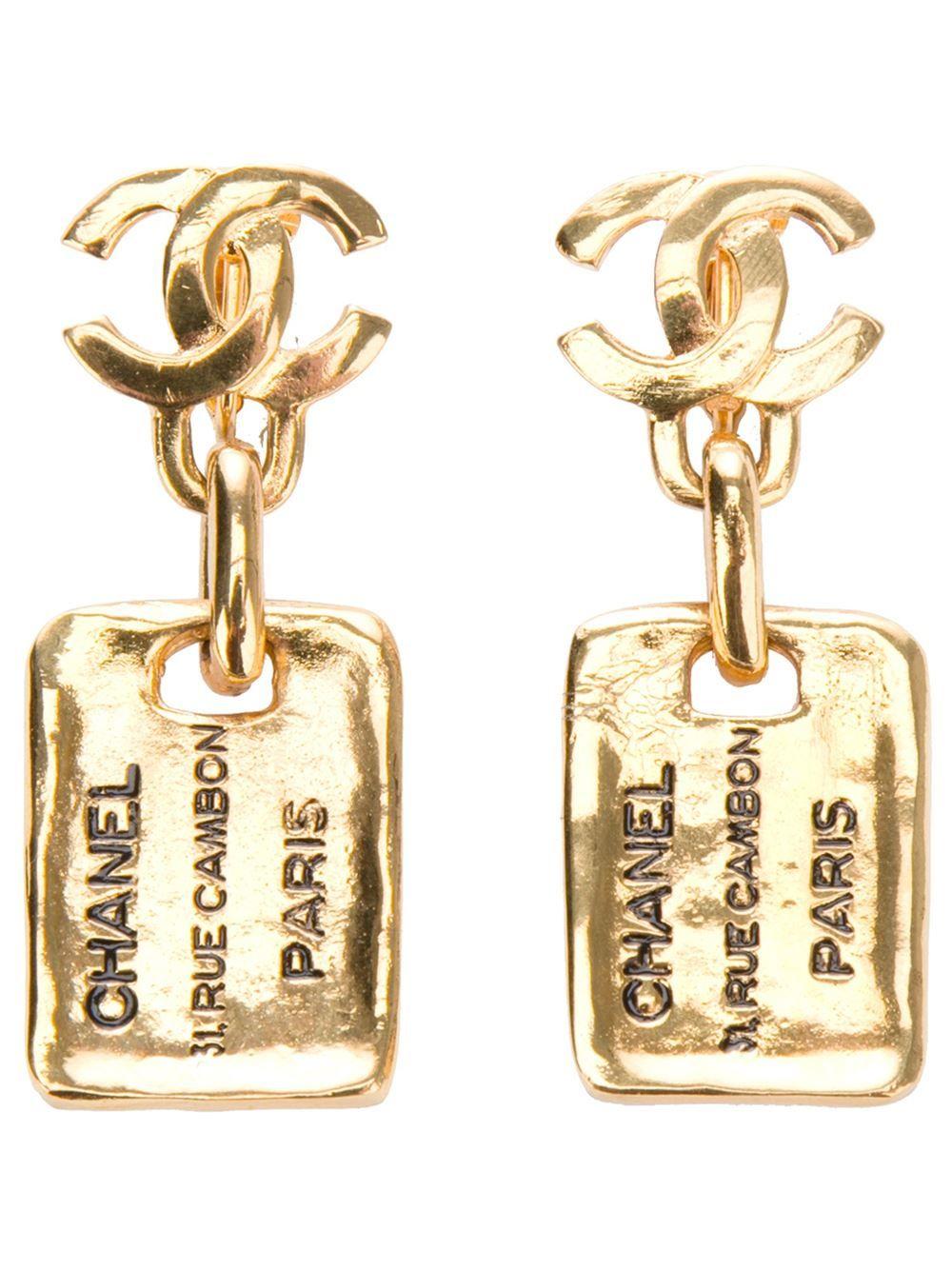 Logo Earrings Vintage chanel, Chanel jewelry, Chanel