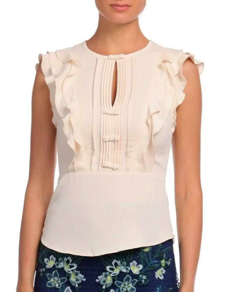 1acf3cfbdf146 Karen Millen Cream Mini Ruffle Peplum Fitted Shirt TY086 Blouse Office Top  10 38  KarenMillen  Blouse  Casual