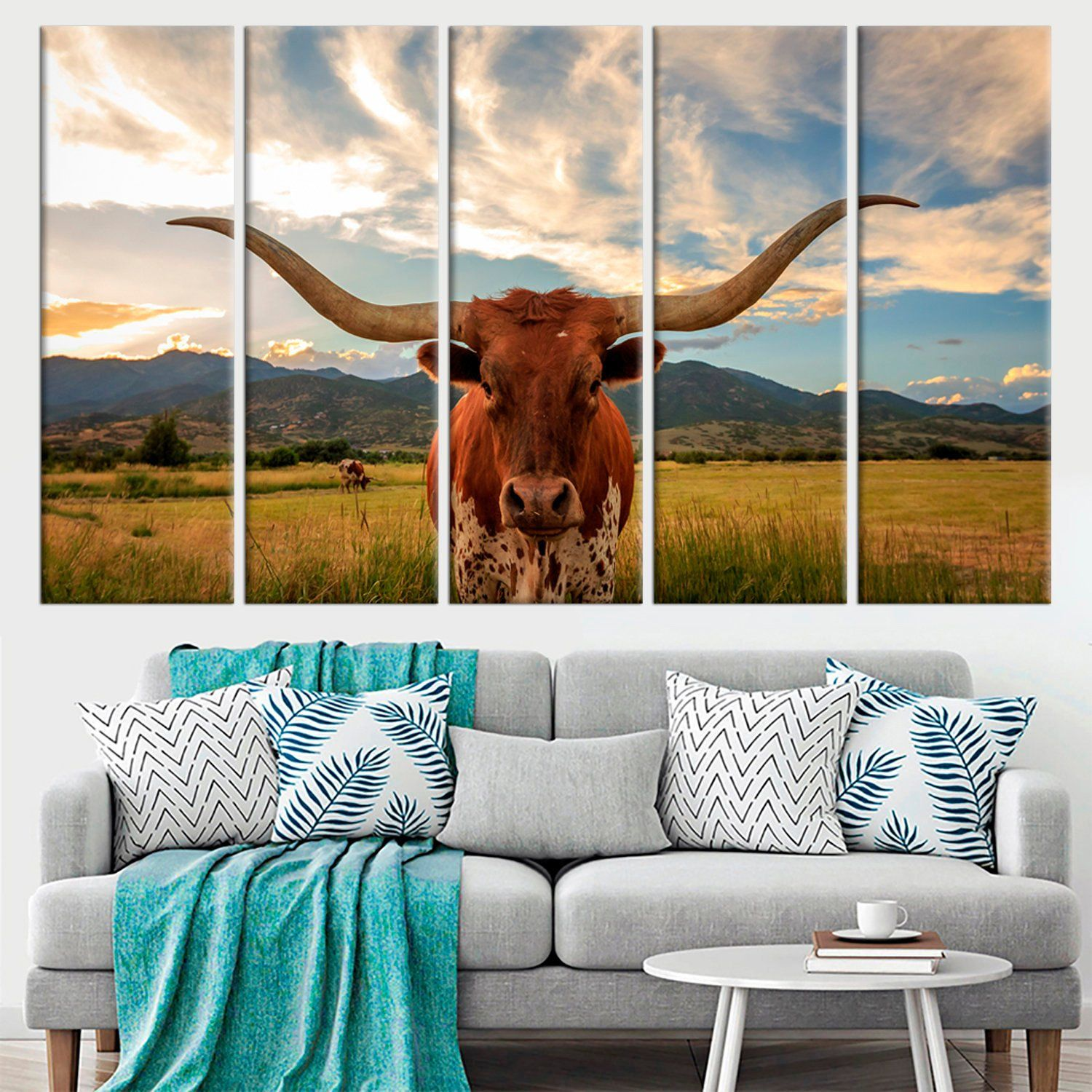 Texas Longhorn steer large canvas print Utah USA Large modern canvas wall art Animal Wildlife print set wall art poster framed wall decor #utahusa