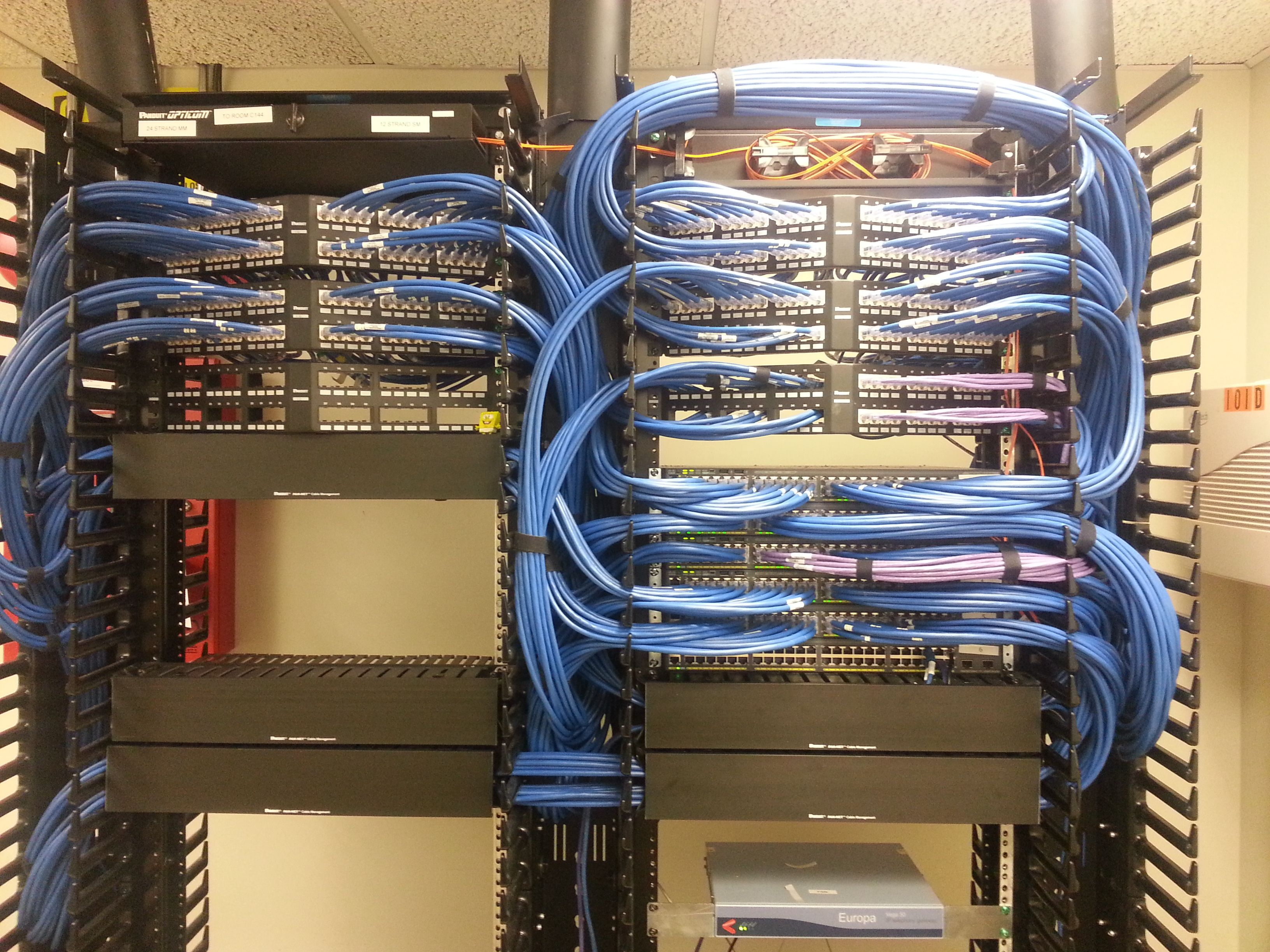 Cable arrangement with modular patch panel and cable manager. What ...