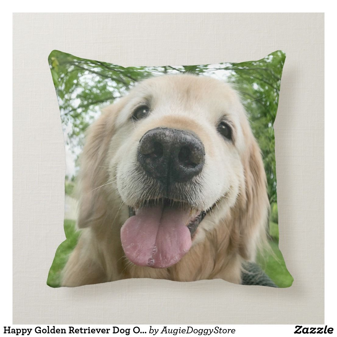 Happy Golden Retriever Dog Outside Portrait Throw Pillow