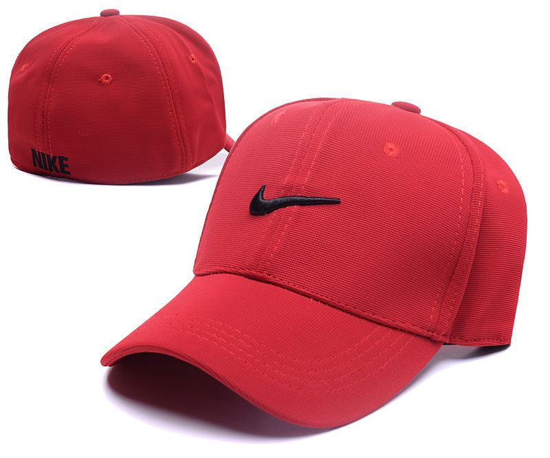 Men s   Women s Nike Swoosh Logo Embroidery Flexfit Dad Hat - Red   Black 11946b785e